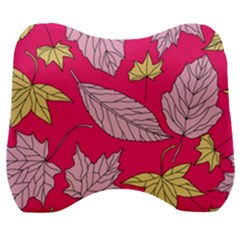 Autumn Dried Leaves Dry Nature Velour Head Support Cushion by Wegoenart