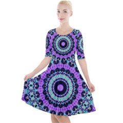 Abstract Art Background Quarter Sleeve A Line Dress