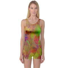 Easter Egg Colorful Texture One Piece Boyleg Swimsuit