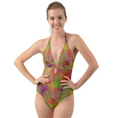 Easter Egg Colorful Texture Halter Cut Out One Piece Swimsuit