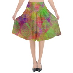 Easter Egg Colorful Texture Flared Midi Skirt
