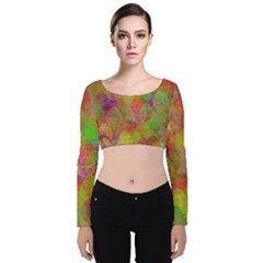 Easter Egg Colorful Texture Velvet Long Sleeve Crop Top