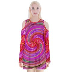 Abstract Art Abstract Background Velvet Long Sleeve Shoulder Cutout Dress