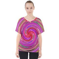 Abstract Art Abstract Background V Neck Dolman Drape Top