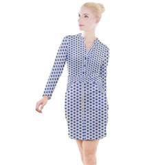 Star Background Backdrop Blue Button Long Sleeve Dress