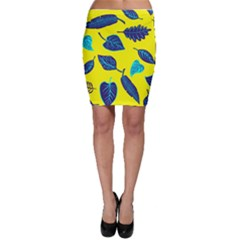 Leaves Pattern Picture Detail Bodycon Skirt