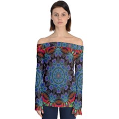 Abstract Art Blue Orange Off Shoulder Long Sleeve Top