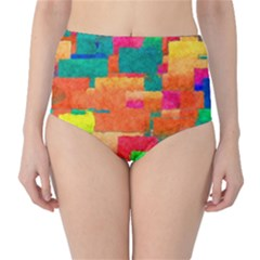 Pattern Texture Background Color Classic High Waist Bikini Bottoms