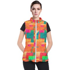 Pattern Texture Background Color Women s Puffer Vest