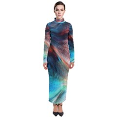 Background Art Abstract Watercolor Turtleneck Maxi Dress
