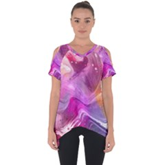 Background Art Abstract Watercolor Cut Out Side Drop Tee