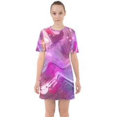 Background Art Abstract Watercolor Sixties Short Sleeve Mini Dress
