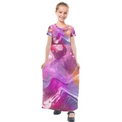 Background Art Abstract Watercolor Kids  Short Sleeve Maxi Dress by Wegoenart