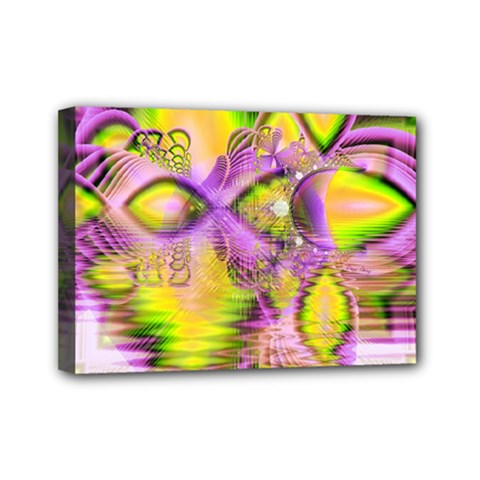Golden Violet Crystal Heart Of Fire, Abstract Mini Canvas 7  X 5  (stretched) by DianeClancy