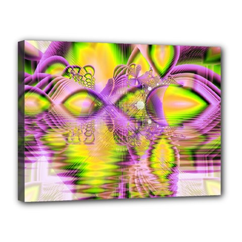 Golden Violet Crystal Heart Of Fire, Abstract Canvas 16  X 12  (stretched)