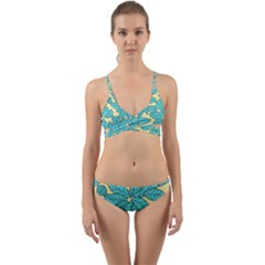 Leaves Dried Leaves Stamping Wrap Around Bikini Set