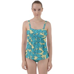 Leaves Dried Leaves Stamping Twist Front Tankini Set