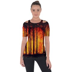Forest Fire Forest Climate Change Shoulder Cut Out Short Sleeve Top