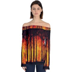 Forest Fire Forest Climate Change Off Shoulder Long Sleeve Top