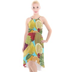 Fruit Picture Drawing Illustration High-low Halter Chiffon Dress