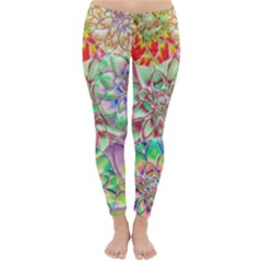 Dahlia Flower Colorful Art Collage Classic Winter Leggings