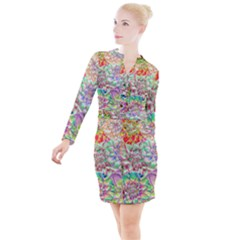 Dahlia Flower Colorful Art Collage Button Long Sleeve Dress