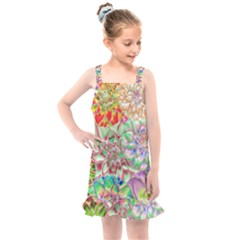 Dahlia Flower Colorful Art Collage Kids  Overall Dress