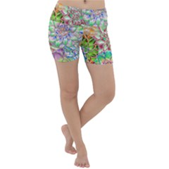 Dahlia Flower Colorful Art Collage Lightweight Velour Yoga Shorts