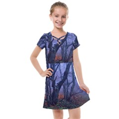 Beeches Autumn Foliage Forest Tree Kids  Cross Web Dress