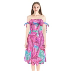 Leaves Tropical Reason Stamping Shoulder Tie Bardot Midi Dress by Wegoenart