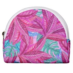 Leaves Tropical Reason Stamping Horseshoe Style Canvas Pouch by Wegoenart