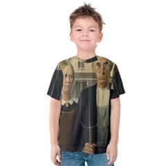 Grant Wood American Gothic Kids  Cotton Tee