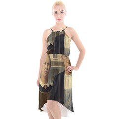 Grant Wood American Gothic High Low Halter Chiffon Dress
