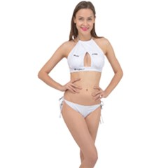 Fish Bone Blue Skeleton Cross Front Halter Bikini Set