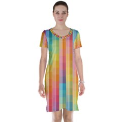 Pattern Background Colorful Abstract Short Sleeve Nightdress