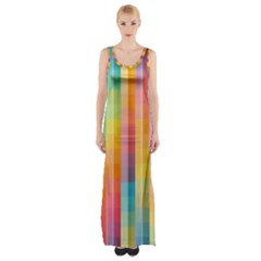 Pattern Background Colorful Abstract Maxi Thigh Split Dress