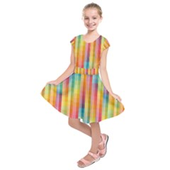 Pattern Background Colorful Abstract Kids  Short Sleeve Dress
