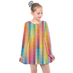 Pattern Background Colorful Abstract Kids  Long Sleeve Dress