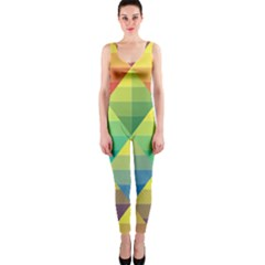 Background Colorful Geometric One Piece Catsuit