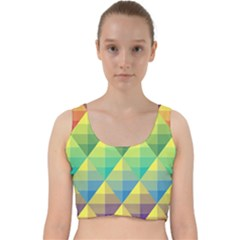 Background Colorful Geometric Velvet Racer Back Crop Top