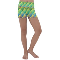 Background Colorful Geometric Kids  Lightweight Velour Yoga Shorts by Wegoenart