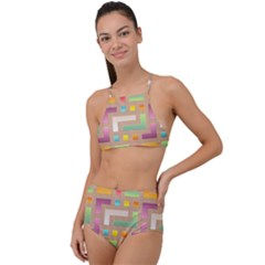 Abstract Background Colorful High Waist Tankini Set by Wegoenart