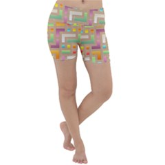 Abstract Background Colorful Lightweight Velour Yoga Shorts