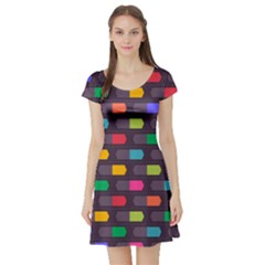Background Colorful Geometric Short Sleeve Skater Dress