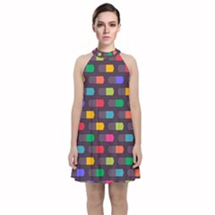 Background Colorful Geometric Velvet Halter Neckline Dress
