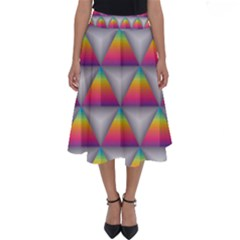 Trianggle Background Colorful Triangle Perfect Length Midi Skirt