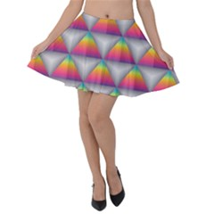 Trianggle Background Colorful Triangle Velvet Skater Skirt