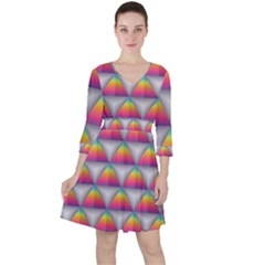 Trianggle Background Colorful Triangle Ruffle Dress