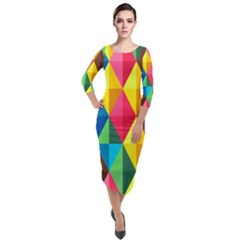 Background Colorful Abstract Quarter Sleeve Midi Velour Bodycon Dress by Wegoenart