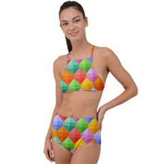 Colorful Geometric High Waist Tankini Set by Wegoenart